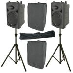 "2 x QTX QR10K 10"" 400W Powered PA Speaker or Monitor + Mixer + Covers + Stands"